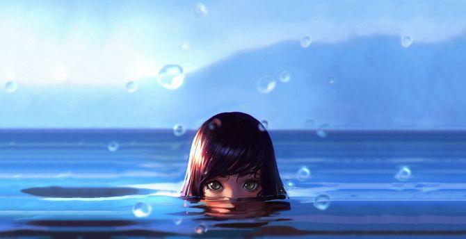 Swim, girl, drops, face, art wallpaper