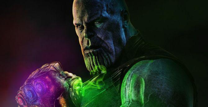 Thanos with infinity stones, artwork, super villain wallpaper