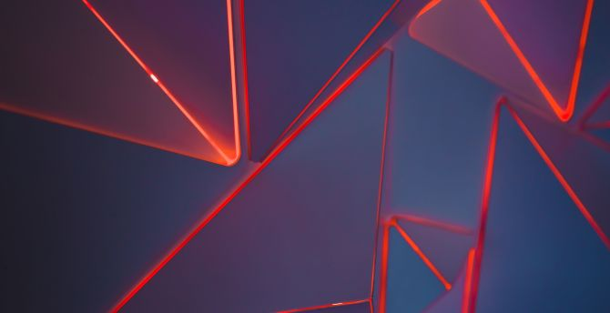 Desktop Wallpaper Red Neon Triangles Geometric Pattern Hd Image Picture Background 73ff99