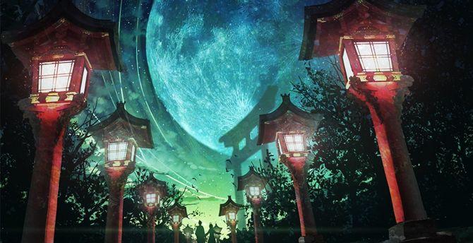 Moon, night, street lights, artwork wallpaper