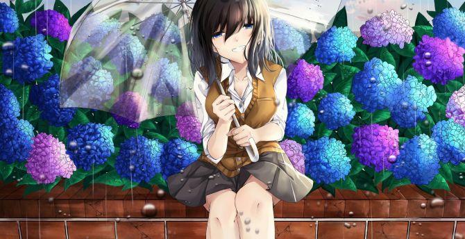 Outdoor, beautiful, anime girl, rain, cute wallpaper