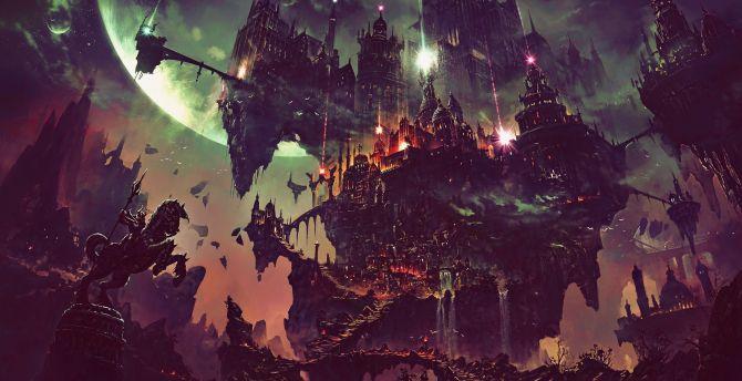 Fantasy, flying city, dark, art wallpaper
