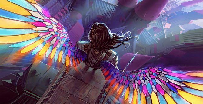 Colorful wings, fantasy, angel wallpaper