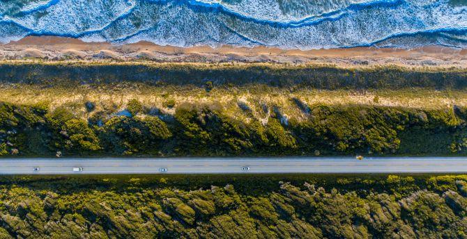 Landscape, coast, aerial view, highway, road wallpaper
