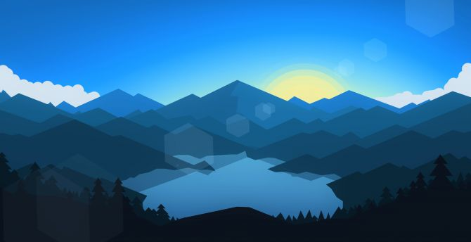Forest, mountains, sunset, cool weather, minimalism wallpaper