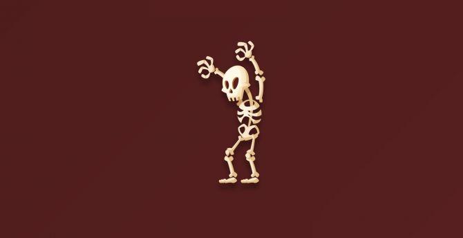 Skull and bones, ghost, minimal wallpaper