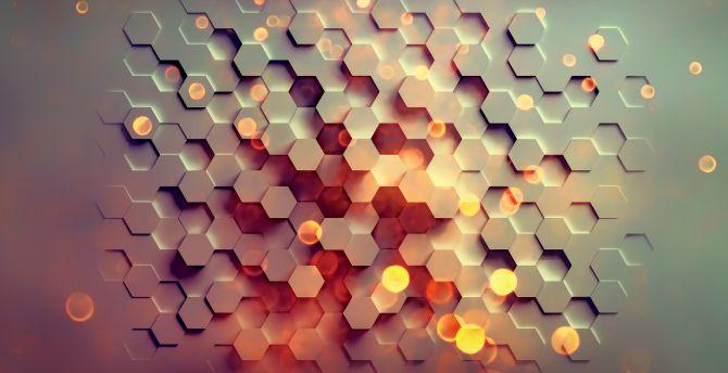 3d, hexagons, pattern, abstract wallpaper