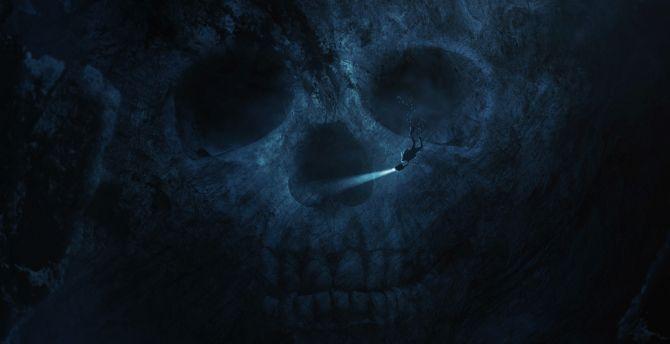 desktop wallpaper skull dark underwater dive hd image