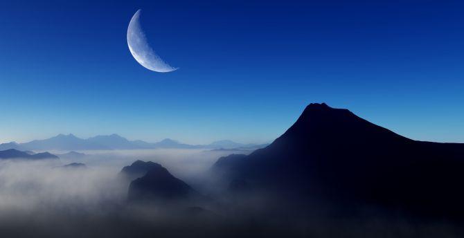 Desktop Wallpaper Blue Moon Nature Sunrise Nature Art Hd Image Picture Background 7d0118