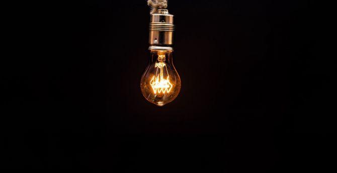 Desktop Wallpaper Light Bulb Dark Minimal Hd Image Picture Background 7d0ed1