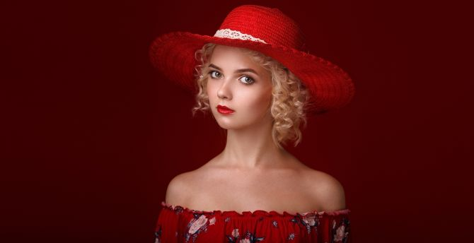 Red dress, girl model, portrait wallpaper