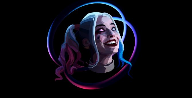 Harley quinn smile face abstract art