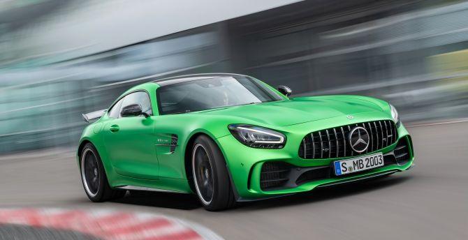 Mercedes-AMG GT, green car, on-road wallpaper