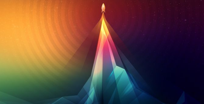 Rocket, launch, colorful, abstract wallpaper