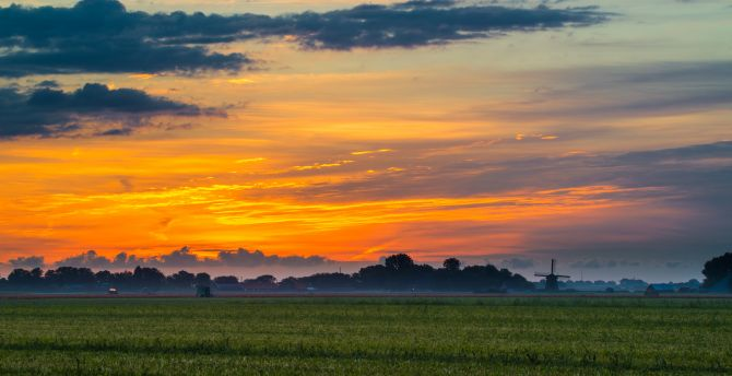 Skyline, clouds, dawn, sunrise, landscape wallpaper