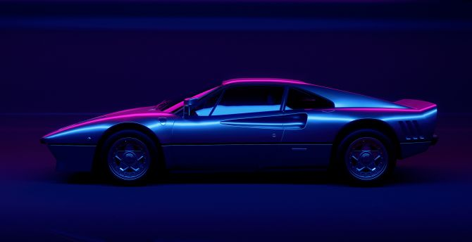 Desktop wallpaper neon lights, sports car, classic, hd ...