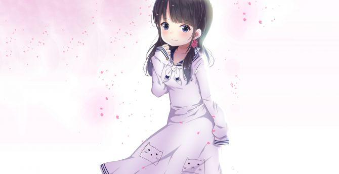 Desktop Wallpaper Cute Anime Girl Dark Hair Original Hd Image Picture Background 84890f