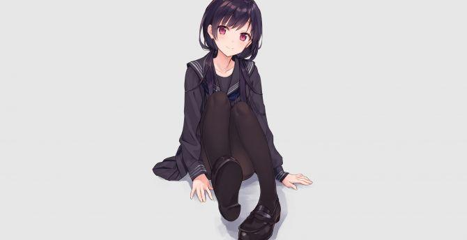 Cute, anime girl, red eyes, black uniform wallpaper