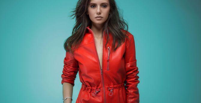 Nina dobrev, actress, red dress wallpaper