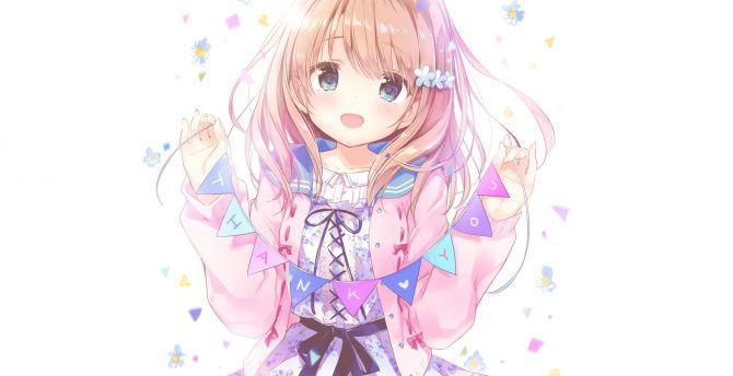 Thank You Blonde Anime Girl Cute Wallpaper