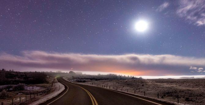 Highway, sky, clouds, landscape wallpaper
