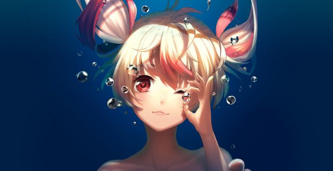 Bubble, underwater, cute, anime girl, Gonna be the Twin-Tail!! wallpaper