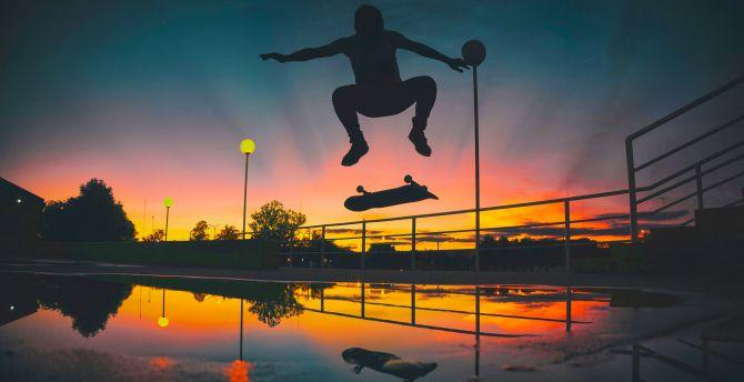 Desktop wallpaper man, skateboarding, sports, sunset ...