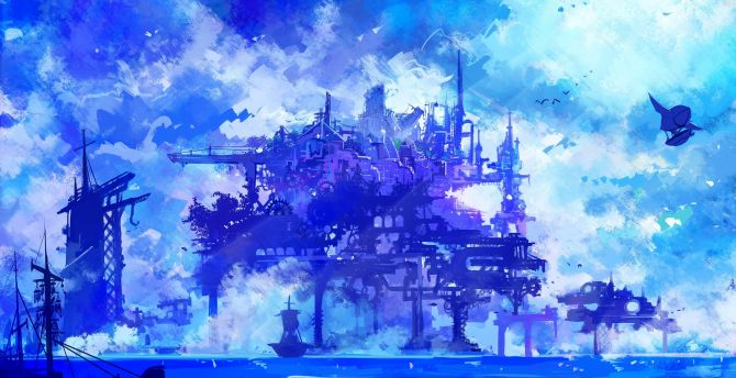 Desktop wallpaper cyber city, anime, cyberpunk, artwork ...