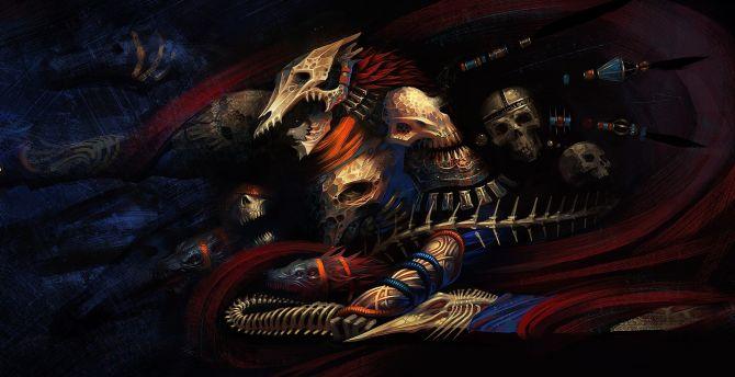 Warrior, skull and bones, art wallpaper