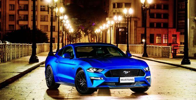 Ford Mustang GT Fastback, blue, 2018 wallpaper