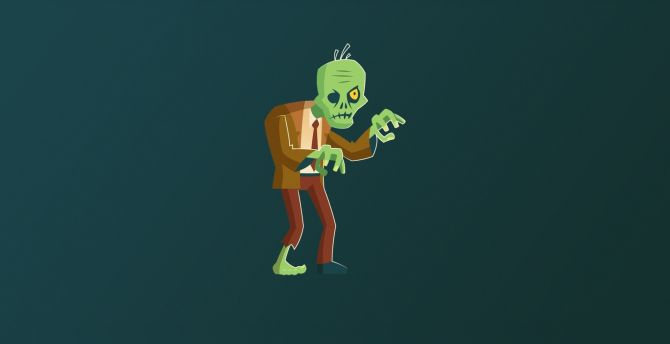 Zombie, Frankenstein, art, minimal wallpaper