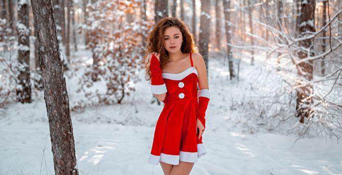 Winter, red dress, outdoor, girl model wallpaper