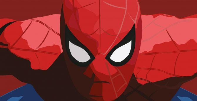 Spider-man, minimal, close up, art wallpaper