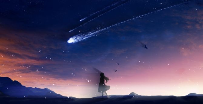 Shooting star, anime girl, silhouette, art wallpaper