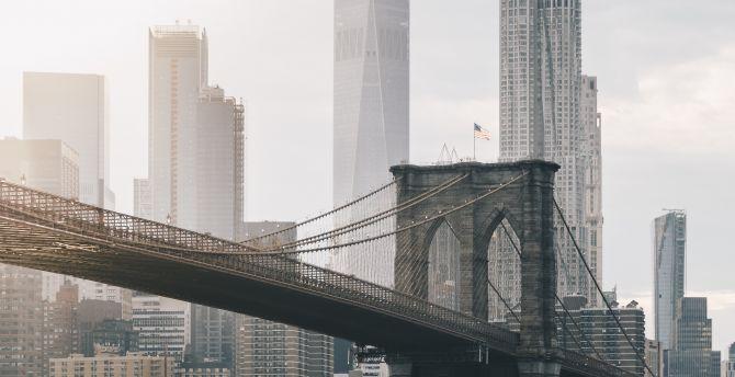 Desktop Wallpaper Brooklyn Bridge Buildings City Hd Image
