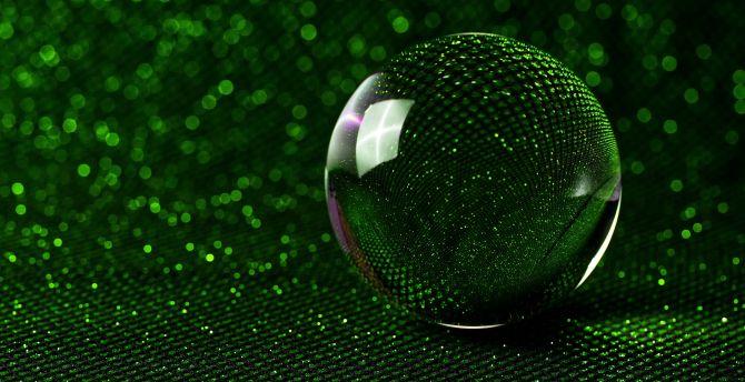 sphere 3d glass ball green glitter