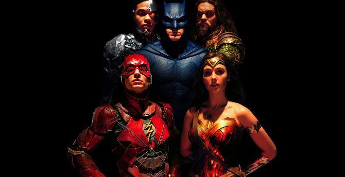 Justice league, team, batman, wonder woman, flash, movie, 2017 wallpaper