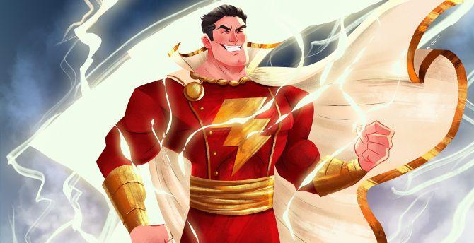 Desktop Wallpaper Shazam Superhero Lightning Art Hd Image