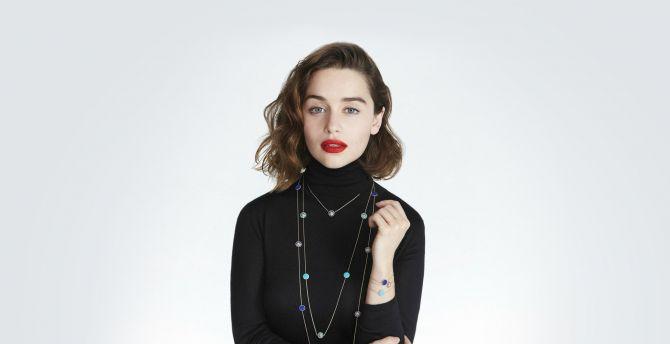 Emilia clarke, dior, brunette wallpaper