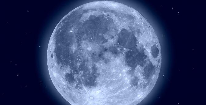 Desktop Wallpaper Blue Moon Shining Glow Night Hd Image Picture Background 95d1a5