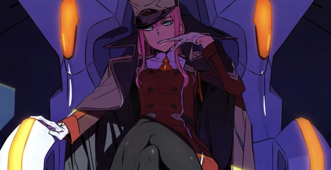 Zero Two, Darling in the FranXX, anime girl, calm wallpaper