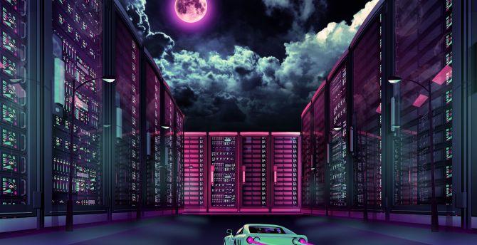 City, buildings, night, clouds, retro art, car wallpaper