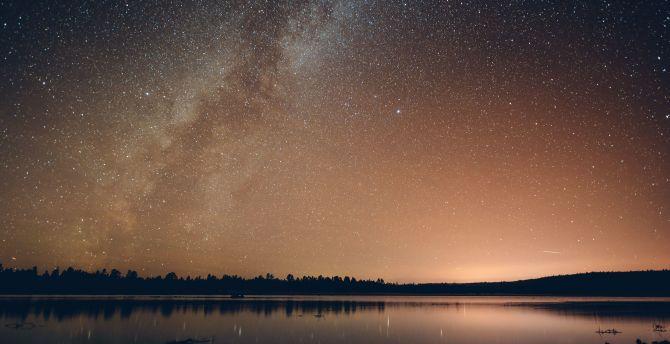 Night, sky, milky way, lake wallpaper