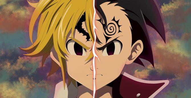 Face Off Zeldris Meliodas The Seven Deadly Sins Anime Boy Wallpaper