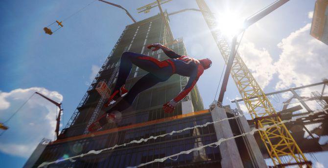 Desktop Wallpaper Spider Man Ps4 Pro Video Game Swing