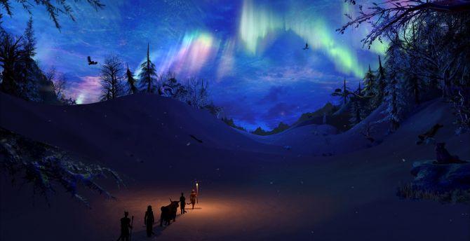 Desktop Wallpaper Northern Lights Landscape The Elder