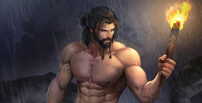 Uncle carl, rain, warrior, artwork wallpaper