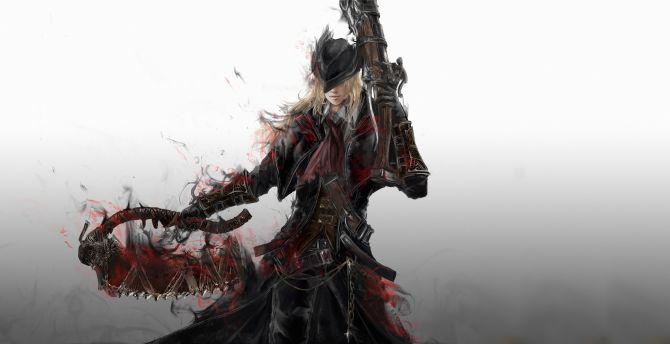 Desktop wallpaper video game, warrior, bloodborne, art, hd ...