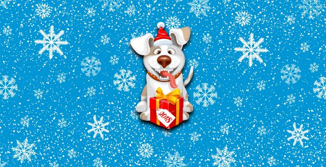 2018, happy new year, dog, gift box, Christmas wallpaper