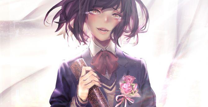 Desktop Wallpaper Beautiful Anime Girl Short Hair Party Hd Image